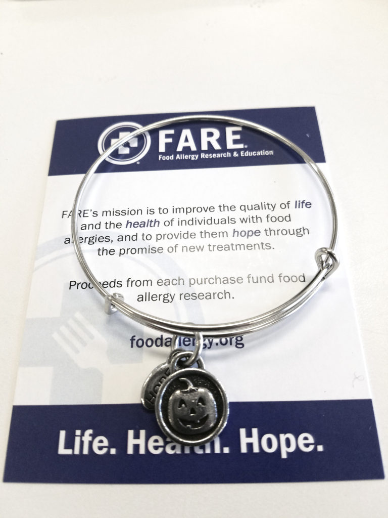 FARE fundraising awareness bracelet pumpkin