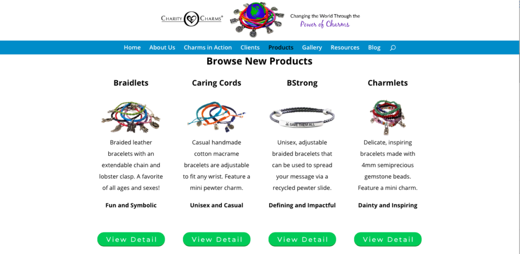 new products page layout