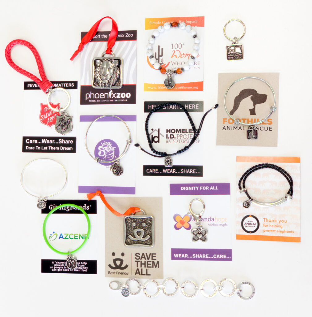 logo charms and packaging