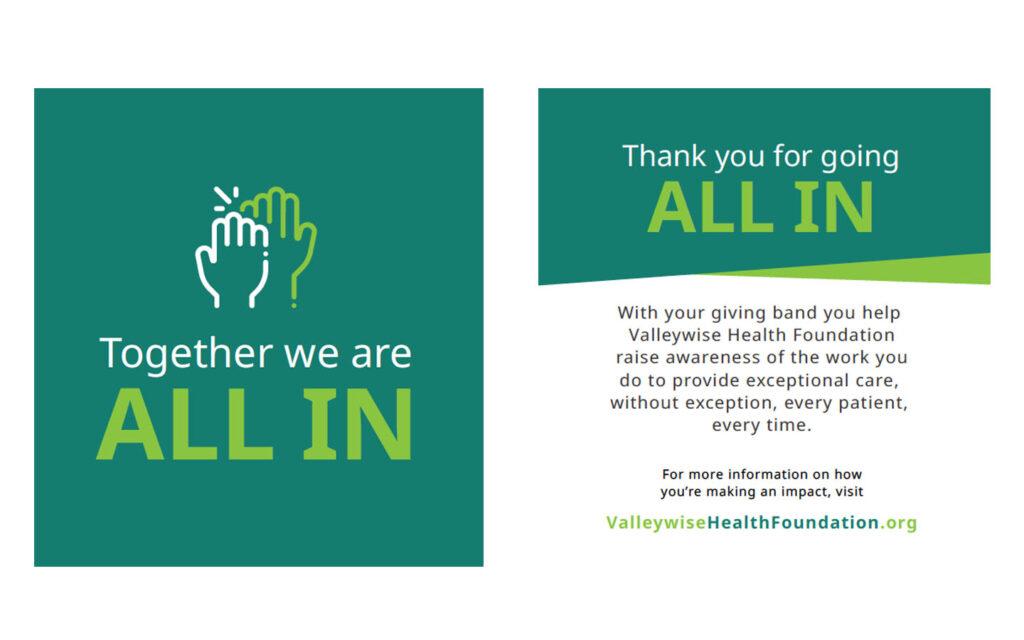 valleywise health foundation healthcare bracelets carding